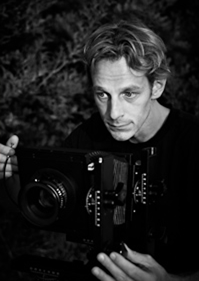 Sandy Lunitz, shooting a large format camera